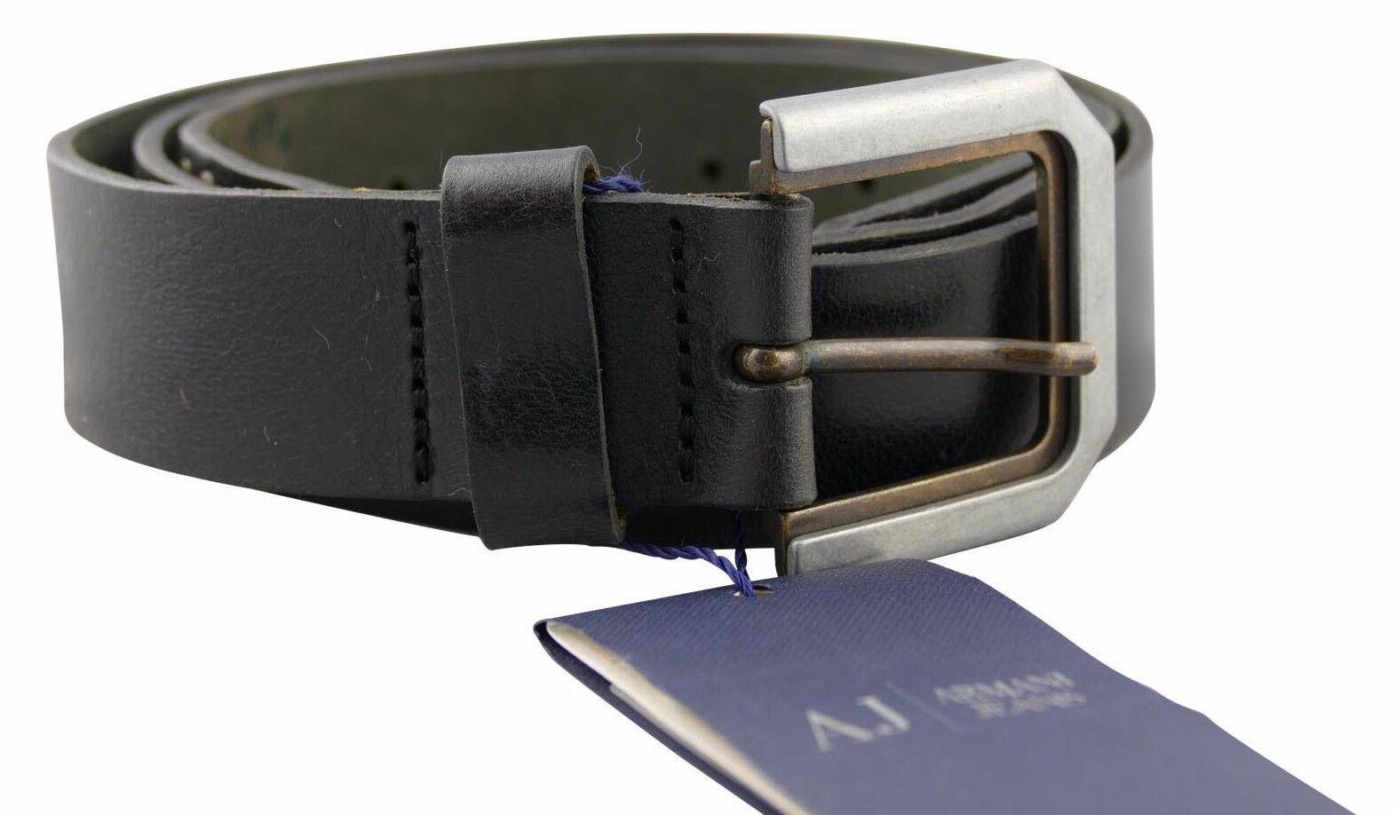 Armani Jeans Schwarz Ledergürtel mit Logo Am Gürtel Retro Hergestellt IN Italien