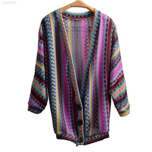 Ladies Retro Boho Ethnic Stryle Rainbow Weave Stripe Knit Sweater Cardigan Coat
