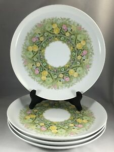 NORITAKE-BIMINI-Younger-Image-6923-Coupe-10-1-4-034-Dinner-Plates-Floral-Set-of-4