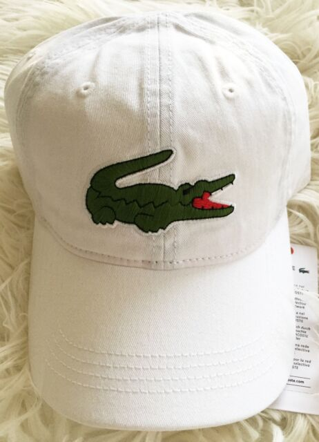 7aada2b8a Authentic Lacoste Gabardine Large Crocodile Backstrap White Hat Cap Unisex