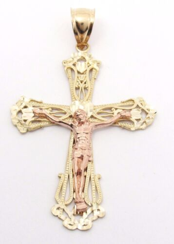 "14k Stamped Yellow Gold Jesus Cross Crucifix  2.4/"" L"