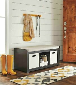 Details About Entryway Storage Bench Wood Cushion Sitting Furniture  Upholstered, Espresso
