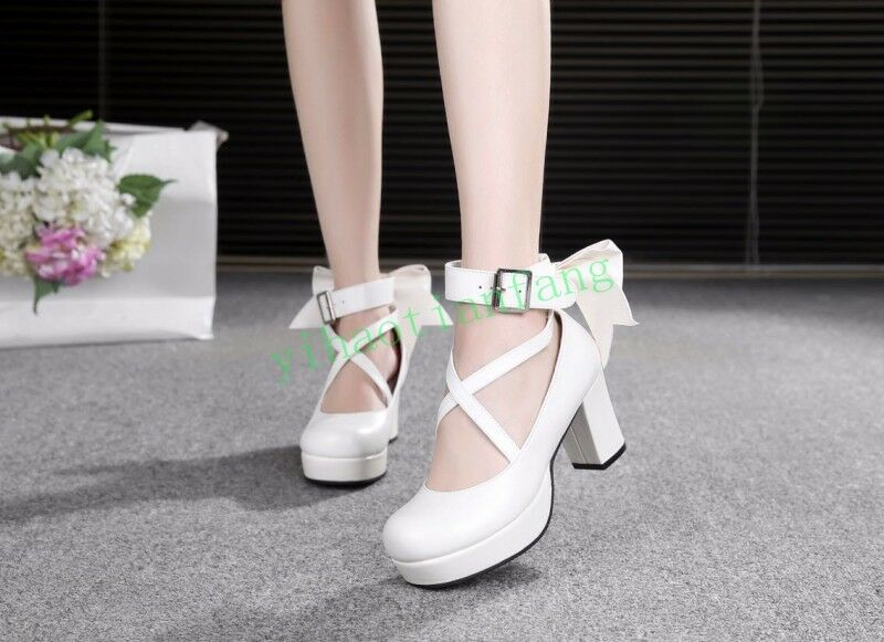 LOlita Womens Bowknot Pumps Block Heels Buckle Cross Strap shoes Round Toe Vogue