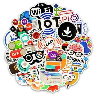 50 PCS Programming Stickers Logo Internet Software Geek Hacker Developer Laptop