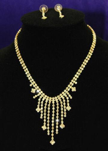 Hochzeit Halskette STRASS Gold Schmuckset S1049