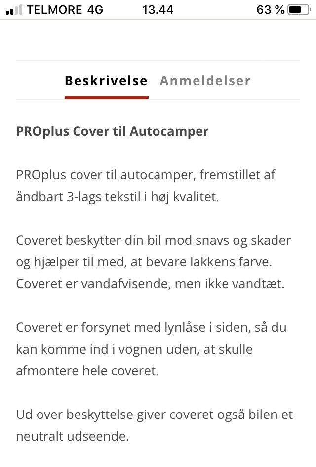 Caravan Cover, a-mål: 750