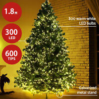 Regular 6Ft Artificial Green Christmas Tree with 300 LED Lights & Copper Light Metal Stand