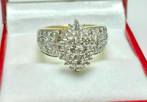 Vintage 1ct Baguette /& Rd Diamond Cluster Engagement Ring 14k Yellow Gold Over