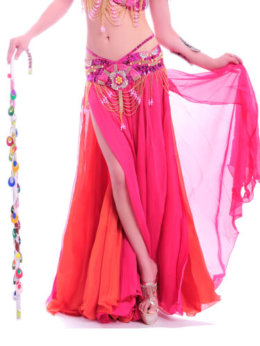 NEW Belly Dance Costume Skirt 2 layers with 2 side slits Skirt Dress Bollywood