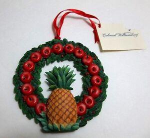 Colonial Williamsburg PINEAPPLE Hospitality APPLE WREATH Christmas Ornament