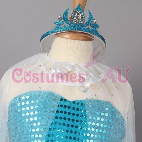Girl Dress Disney Frozen Elsa Party Birthday Fancy Costume Dress Crown Cape