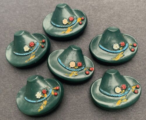 Choice of colours 6 Vintage Tyrolean Hats with Cherries Buttons