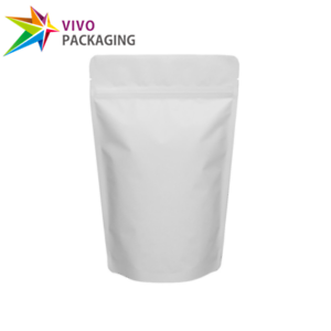 200 x MATTE WHITE STAND UP POUCH FOOD FOIL BAG WITH ZIP LOCK BULK DISCOUNT