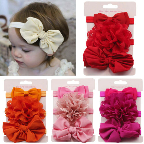 3pcs//Set Newborn Headband Elastic Florar Baby Girls Hairband Bowknot Turban Red
