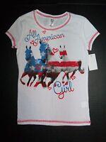 Girls Horse Shirt Sz 7 8 Patriotic Equestrian Pony Riding Camp