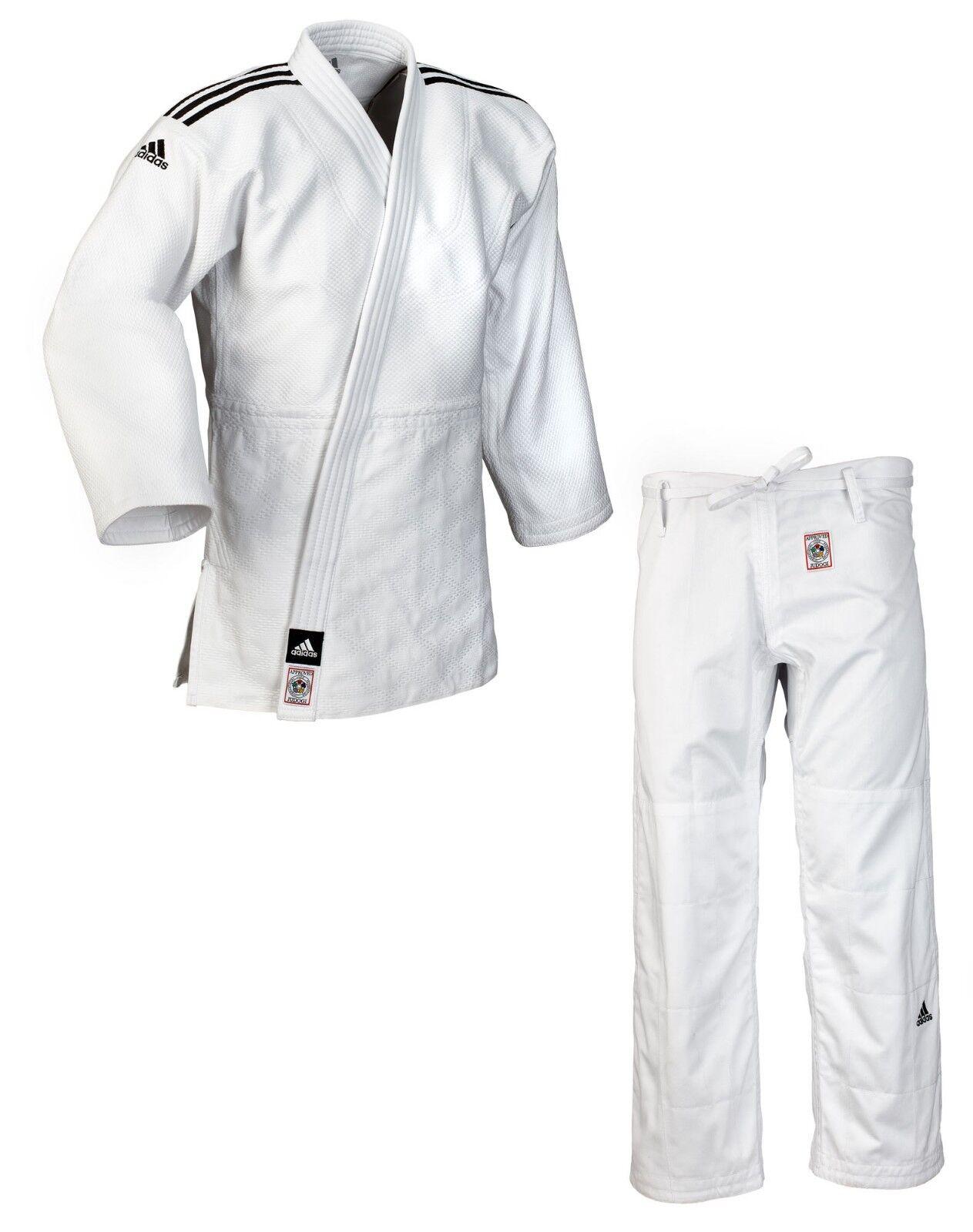 Adidas Judoanzug  CHAMPION II  IJF weiß schwarze Streifen JIJF - Judo-Anzug