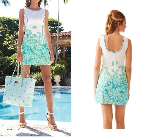 NWT  198 Lilly Lilly Lilly Pulitzer Carlow Resort Weiß Palm Party Engineerot Dress 1e6