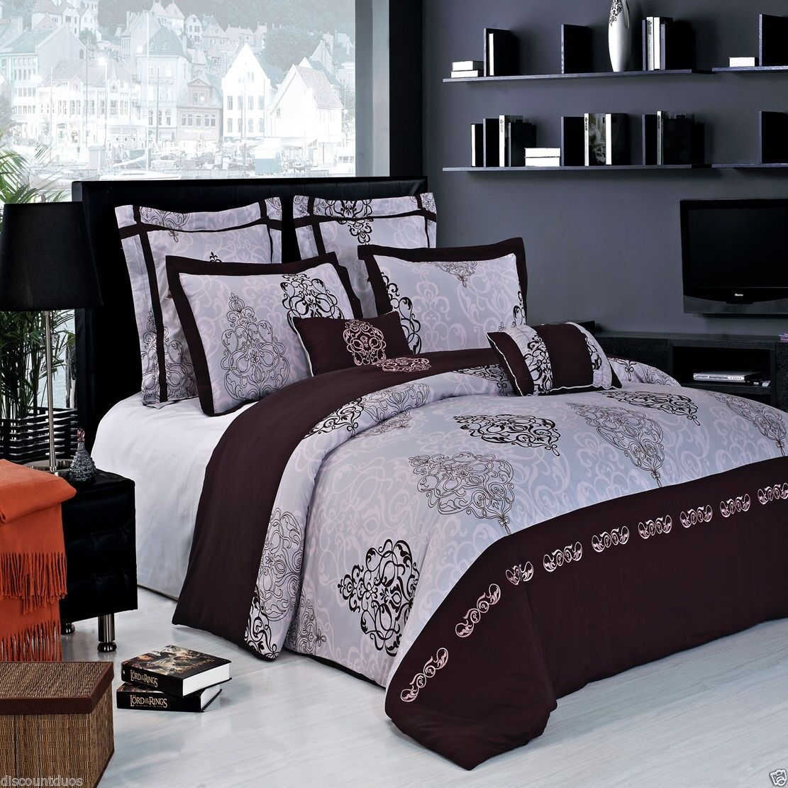7pc Embroidered Brown & Grey Duvet Cover Bedding Set AND Shams - ALL SIZES