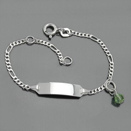 Baby Taufe Kinder ID Armband Namen Gravur Echt Silber 925 Kristall Stein grün