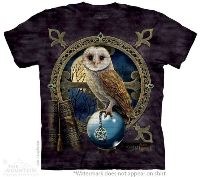 Spellkeeper T-Shirt by The Mountain. Owl Wizard Magic Crystal Ball Sizes S-5XL