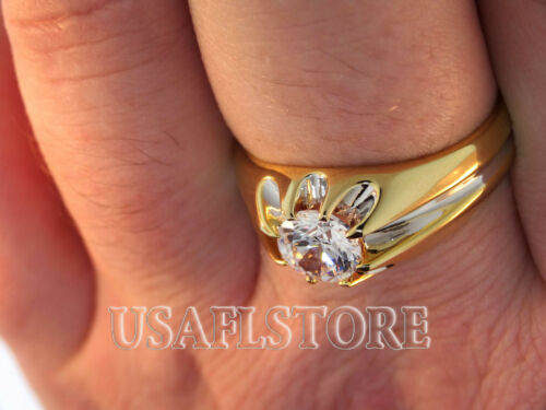 2.05ct Clear Round Stone Tutone 18kt Gold EP Mens Ring
