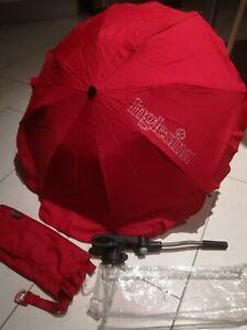 OMBRELLINO PARASOLE INGLESINA ROSSO RED CON MANICO FLESSIBILE usato pochissimo