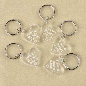 ... Engraved Keychain Clear Love Heart Keyring Wedding Gift Favor eBay