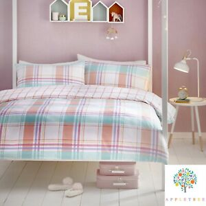 Appletree-CHA-CHA-CHECK-Bedding-Set-Pink-Tartan-Duvet-Cover-Brushed-Cotton-Girls