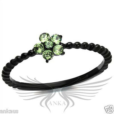 Top Grade Crystals Cocktail Black IP Engagement Ring 5 6 7 8 9 10 TK1739