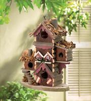 distressed shabby gingerbread Victorian Wood fairy mansion Bird house birdhouse