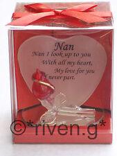 NAN@HEART SHAPED Glass Plaque@RED ROSE@GRAN@NANA Gift@SPECIAL GRANDMA keepsake