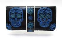 Shagwear Wallet Blue Sugar Skull On Black Snap Tab Zippered Wallet