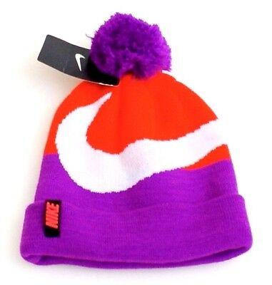 5198abfc5 Nike Crimson & Purple Knit Cuff Pom Pom Beanie Girl's 7-16 NWT ...
