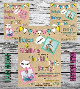 10 Personalised Twin Boy//Girl Kid 1st Birthday Invites Invitations PHOTO any age