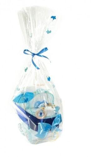 Greifling Windeltorte mit Name für Junge Geschenk Pampers Windelwagen blau