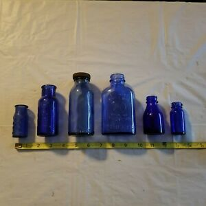 Vintage-Blue-Glass-Medical-Apothecary-Bottle-Lot-of-6-Medical-Collectible