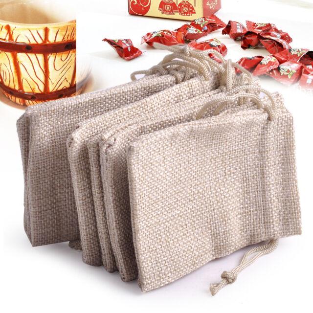10x Small Burlap Linen Jute Sack Pouch Bag Drawstring Jewelry Wedding Gift Favor