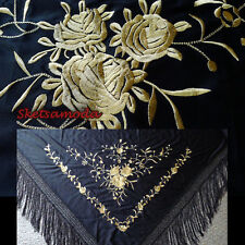 flamenco embroidered shawl / manton / scarf / piano Black Gold/ Medium