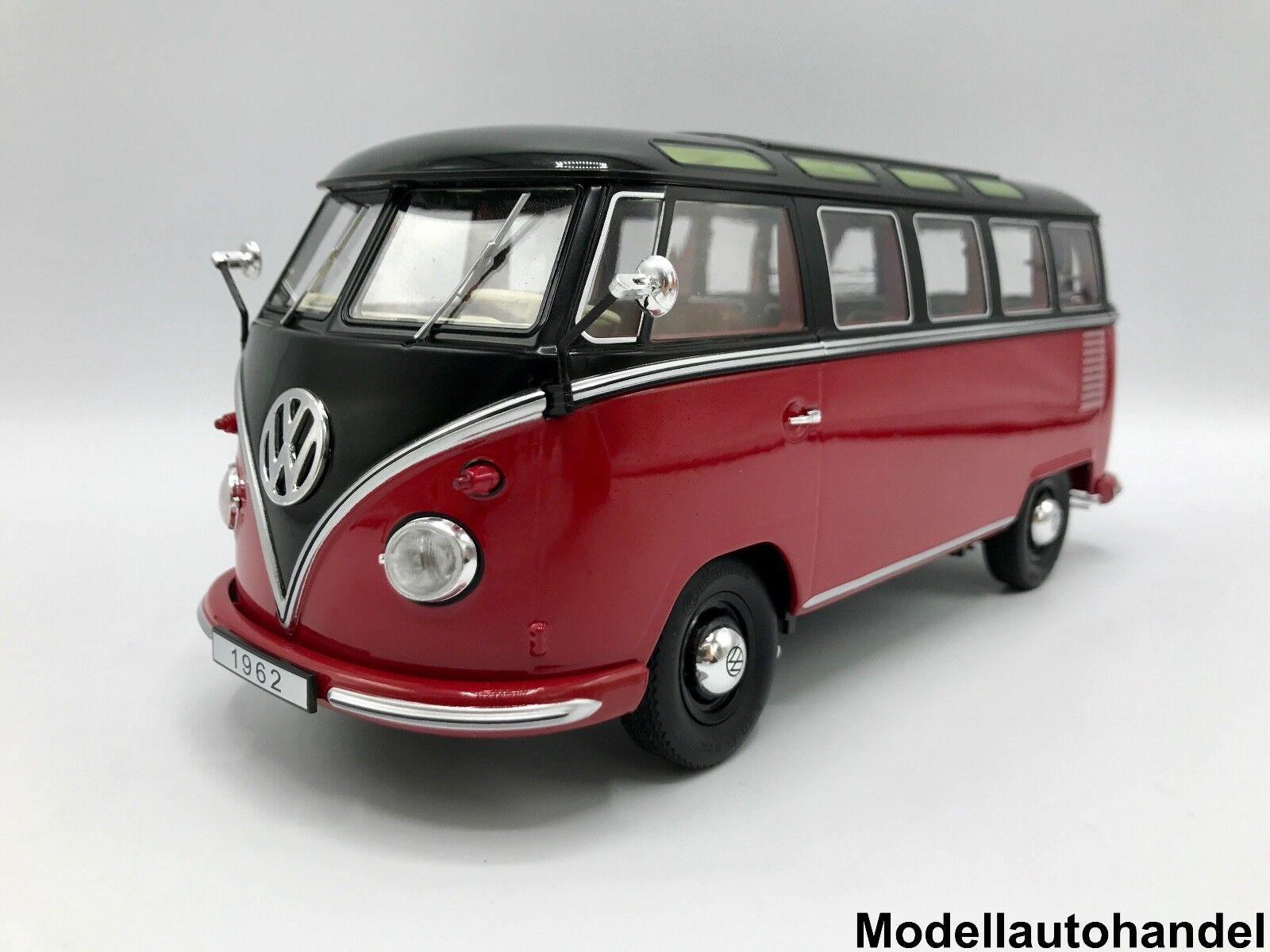 VW volkswagen t1  Samba Bus Camionnette 1959-Rouge Noir - 1 18 KK-Scale  économiser 60% de réduction