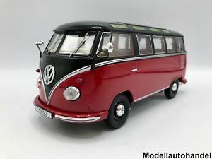 VW-VOLKSWAGEN-t1-samba-bus-bulli-1959-Rosso-Nero-1-18-KK-scale