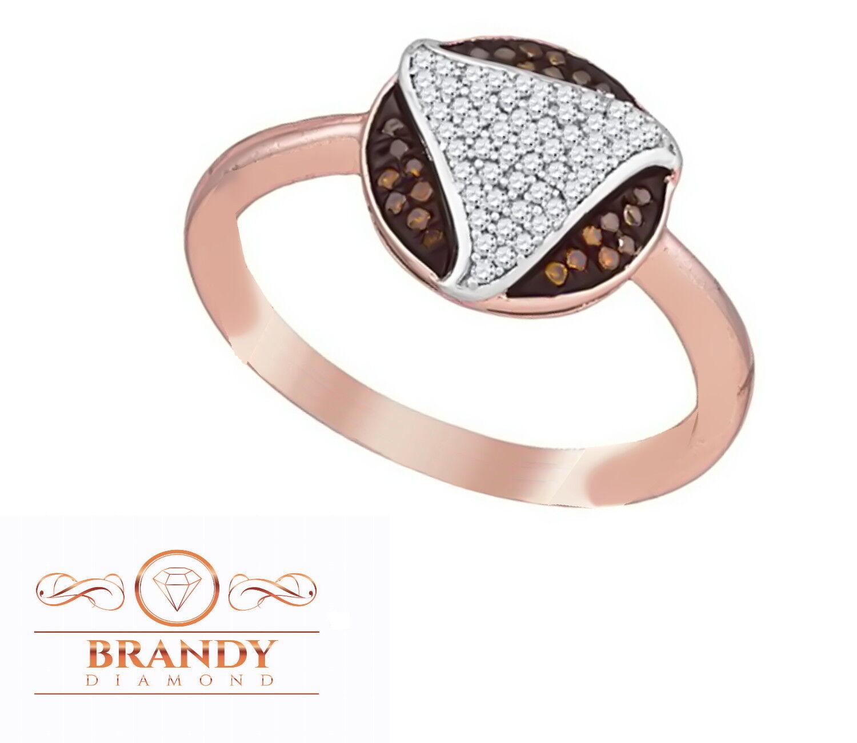 Brandy Diamond® Chocolate Brown 10K pink gold Round Trillion Design Ring