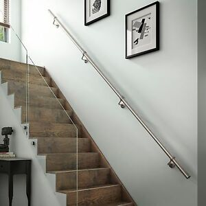 2.4mtr Brushed Nickel Wall Mounted Metal Handrail / Banister + all ...