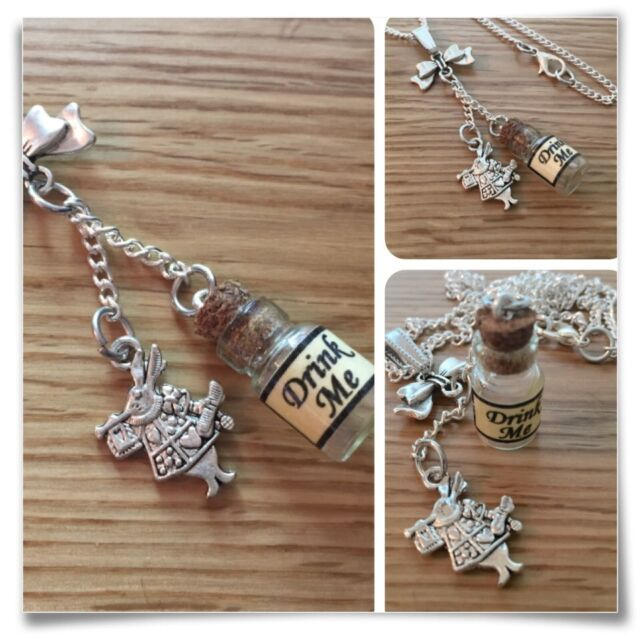 Alice in Wonderland mini drink me bottle Bow & white rabbit necklace V2