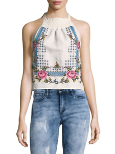 Free People  Honey Pie  Ivory embroiderot cotton top tank blouse Small NEW