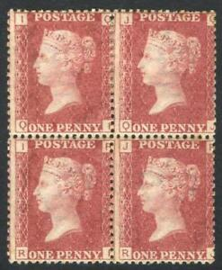 Great-Britain-1858-79-SG-43-1d-rose-red-Plate-192-IQ-JR-blk-4-Mint