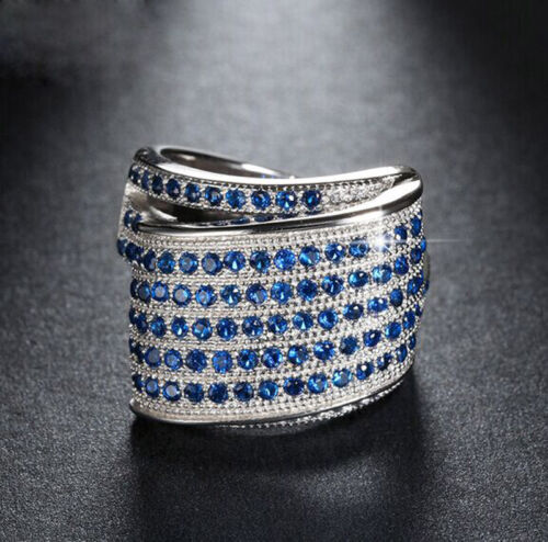Saphir Bleu Pierre de Naissance Argent 925 Rempli robe de mariage Anneau Cadeau Taille 6-10