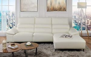 Details about Modern Low Profile Sectional Sofa with Right Chaise, Leather  Match, White