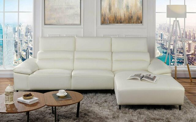 Miraculous Modern Low Profile Sectional Sofa With Right Chaise Leather Match White Theyellowbook Wood Chair Design Ideas Theyellowbookinfo
