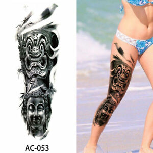 Buddha Dragon Tribal Adult Large Long Leg Arm Full Temporary Tattoo