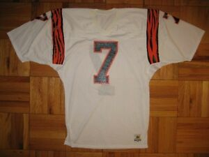 Details about 1980s Authentic Bengals Boomer Esiason jersey Sand-Knit White PRO-Line